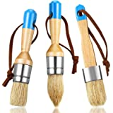 3 Pieces Chalk and Wax Paint Brushes Bristle Stencil Brushes for Wood Furniture Home Decor, Including Flat, Pointed and…