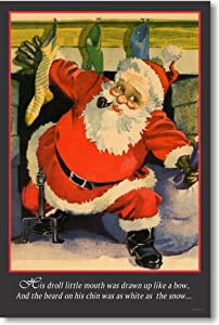 Twas the Night Before Christmas - Santa Coming Down the Chimney - Vintage Poster