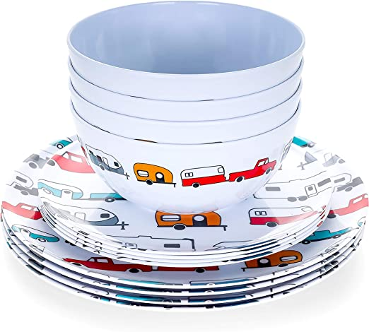 Camco Life is Better at The Campsite 12 Piece Dishware Set-Multicolor Retro RV and Trailer Print, Includes Plates and Bowls, Perfect for RVing and ...