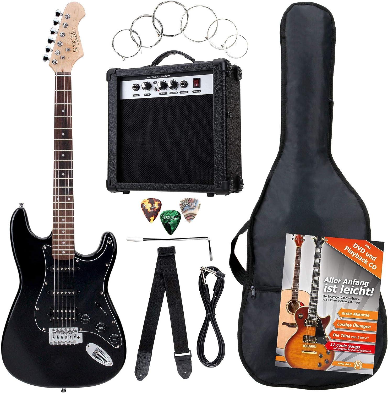 Rocktile ST Pack guitarra eléctr Set negro incl. ampl, bolsa,afinador, cable, correa, cuerdas: Amazon.es: Instrumentos musicales