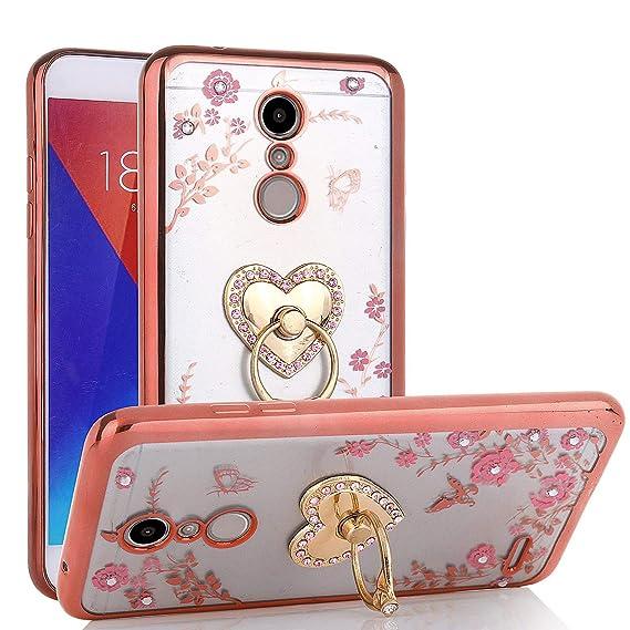 LG K30 Case, LG Premier Pro LTE/Harmony 2/Phoenix Plus/LG K10 2018, Glitter  Crystal Heart Floral Series - Slim Luxury Bling Rhinestone Clear TPU Case