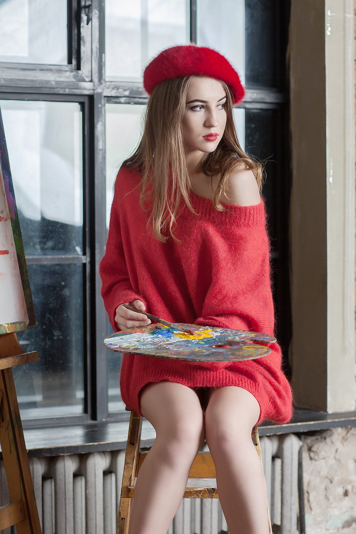 Off shoulder sweater Red oversized sweater Off shoulder pullover Red sweater Red knitted pullover Red mohair pullover Designer knitwear
