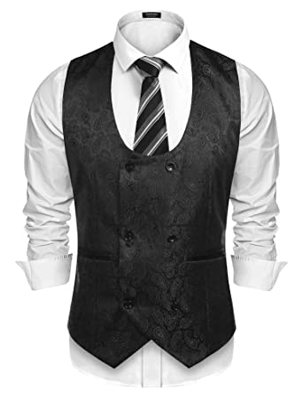 c107b452a2d60 COOFANDY Men s Slim Fit Sleeveless Suit Vest Double Breasted ...