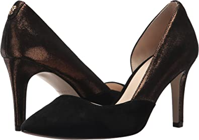 Cole Haan Women's Rendon Pump II Bronze Shimmer Metallic/Black Suede 7 ...