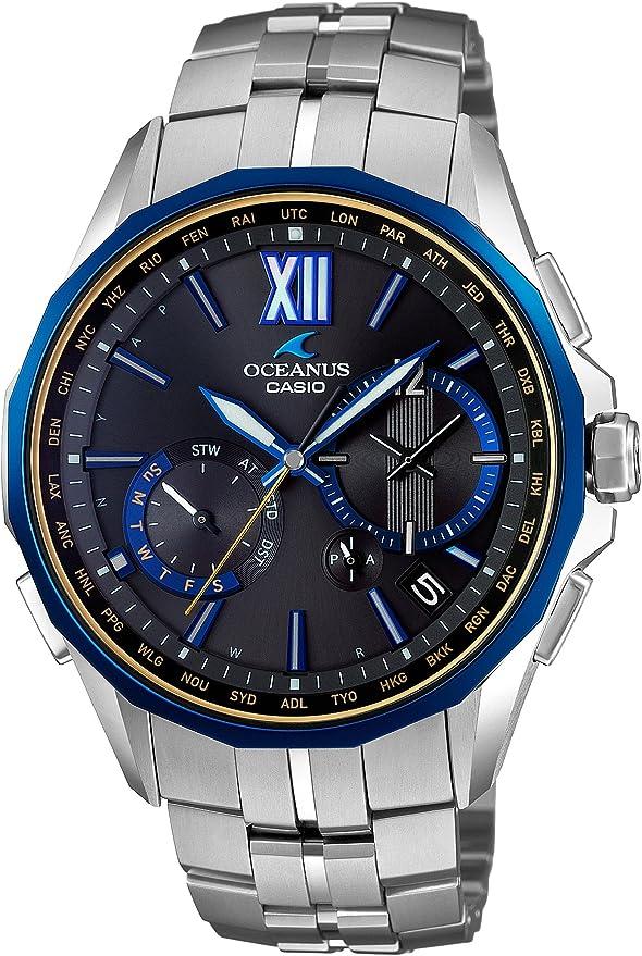 [カシオ] 腕時計 オシアナス マンタ ブラックマーブル 電波ソーラー OCW-S3400G-1AJF シルバー