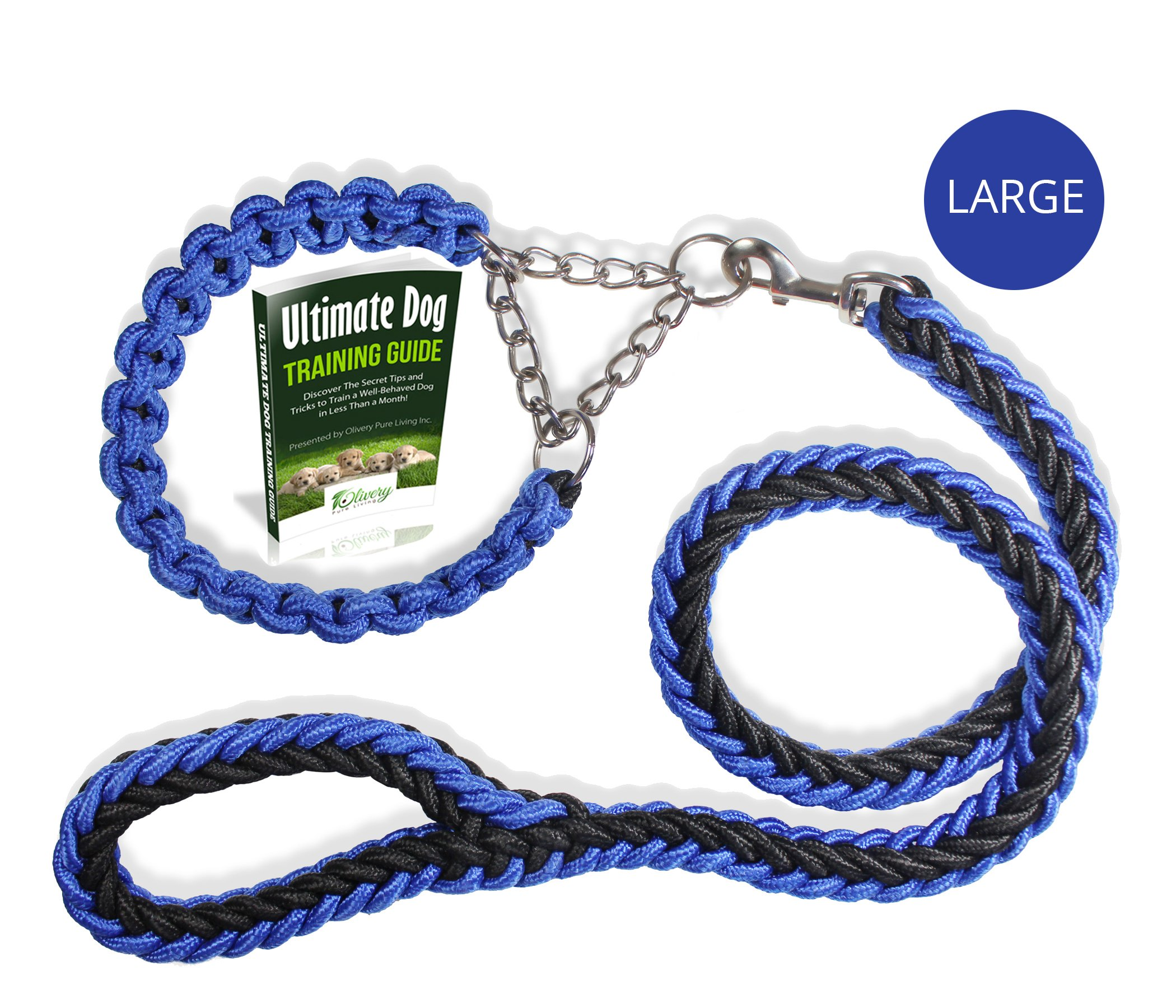 Olivery Heavy Duty Dog Martingale Braided Collar with Solid Hand Crafted Leash (Blue, Large)