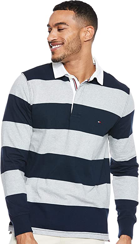 Tommy Hilfiger Iconic Block Stripe Rugby Polo, Multicolor (Sky ...