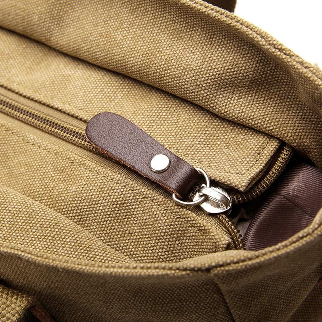 Color : Khaki Leisure Bag Business Tourism Pro-BikeUS Canvas Bag Handbag Diagonal Single Shoulder Bag Computer Bag