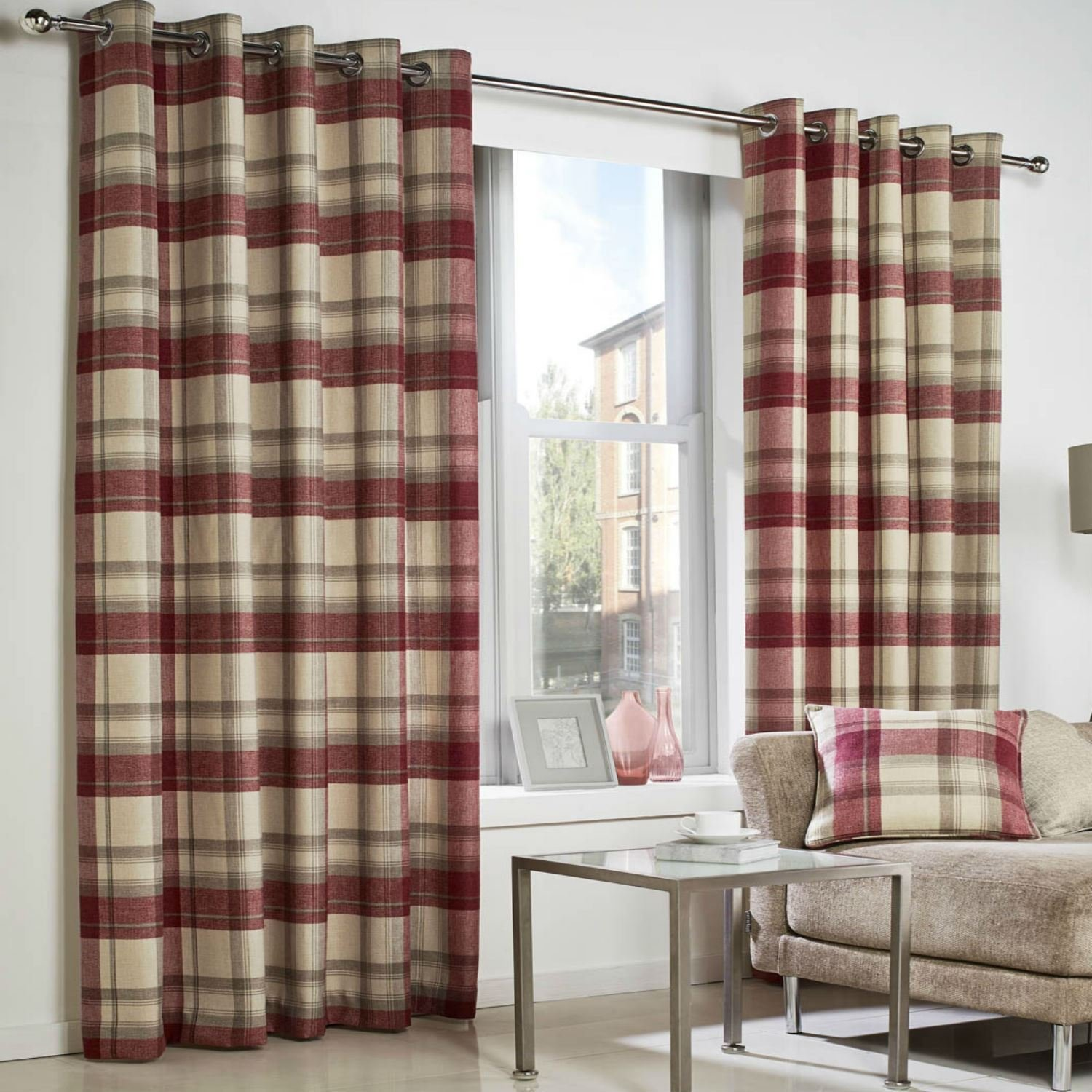 Red And Grey Check Eyelet Curtains Curtain Menzilperde Net