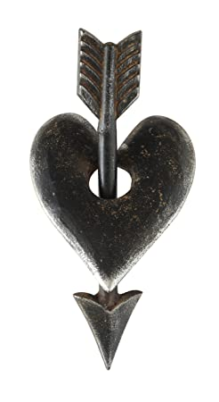 Creative Co-op Cast Iron Heart Arrow Decoration