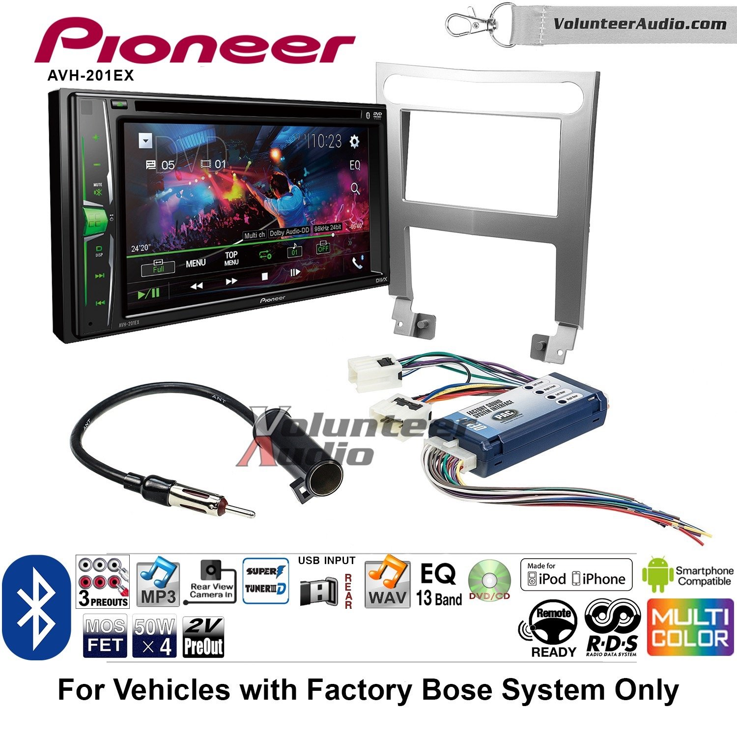 Volunteer Audio Pioneer AVH-201EX Double Din Radio Install Kit with CD Player Bluetooth USB/AUX Fits 2004-2006 Nissan Maxima (With Bose)
