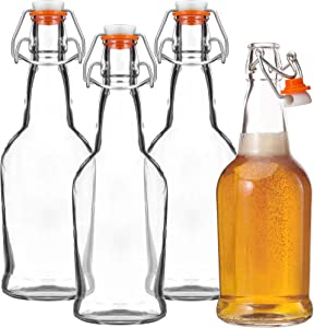 Glass Beer Bottles With Swing Top Cap, – 4 Pack – Home Brewing Grolsch Bottle Set – Airtight Rubber Silicone Lid for Kombucha, Dressings and More – by Kitchen Lux