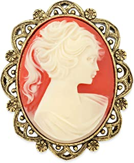 product image for 1928 Jewelry Vintage Inspired Costume Elizabeth Oval Cameo Brooch in Gold Tone with Carnelian Style Stone
