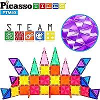 PicassoTiles 40 Piece Magnetic Building Block Mini Diamond Series Travel Size On-The-Go Magnet Construction Toy Set STEM…