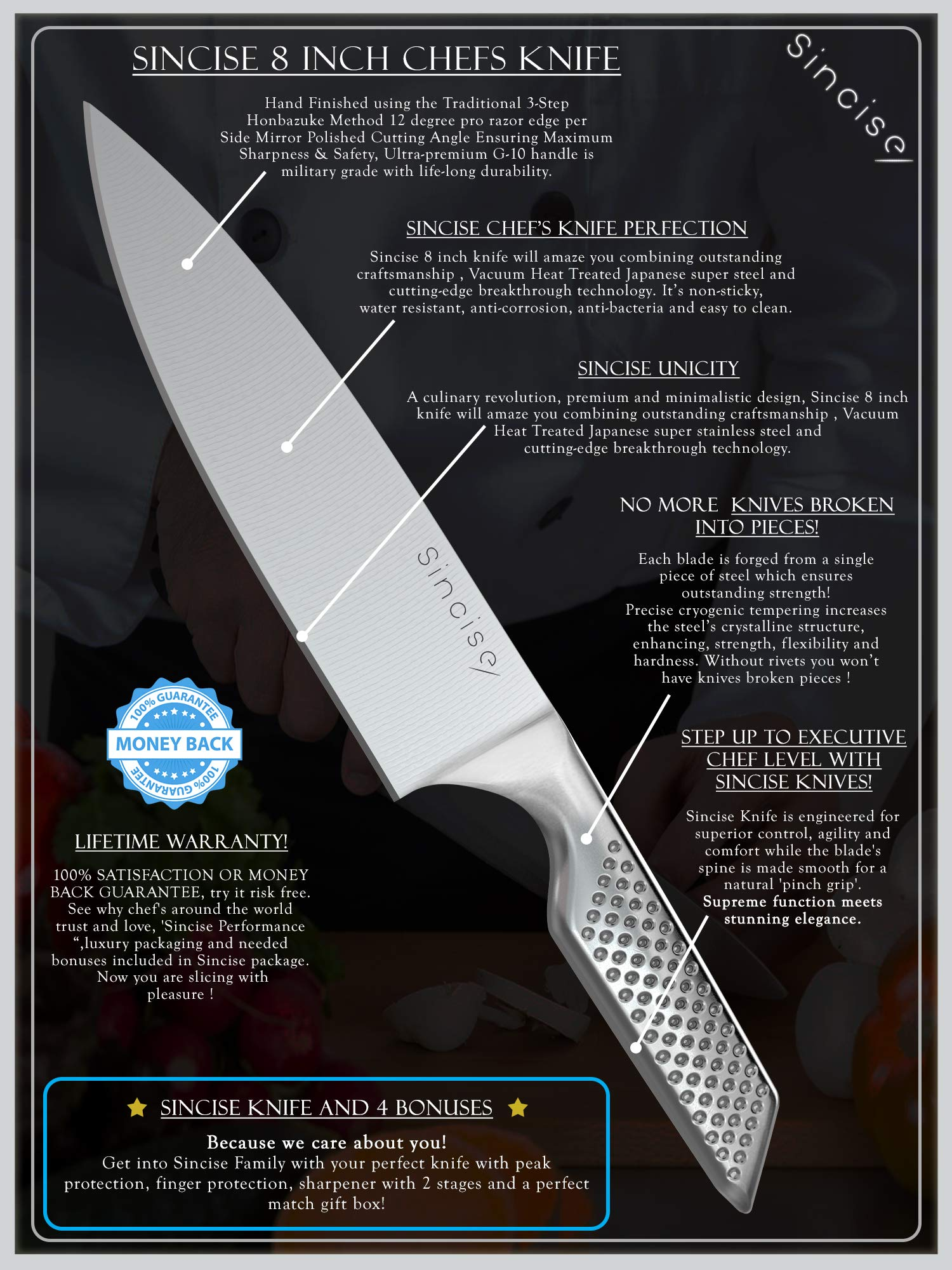 Professional 8 Inch Japanese Chef Knife | Razor Sharp Blade Made of High Carbon German Steel | Ergonomic One-Piece Chef's Knife| Perfect in Kitchen for Cutlery and Vegetable - by SINCISE (8 inch) by Sincise (Image #9)