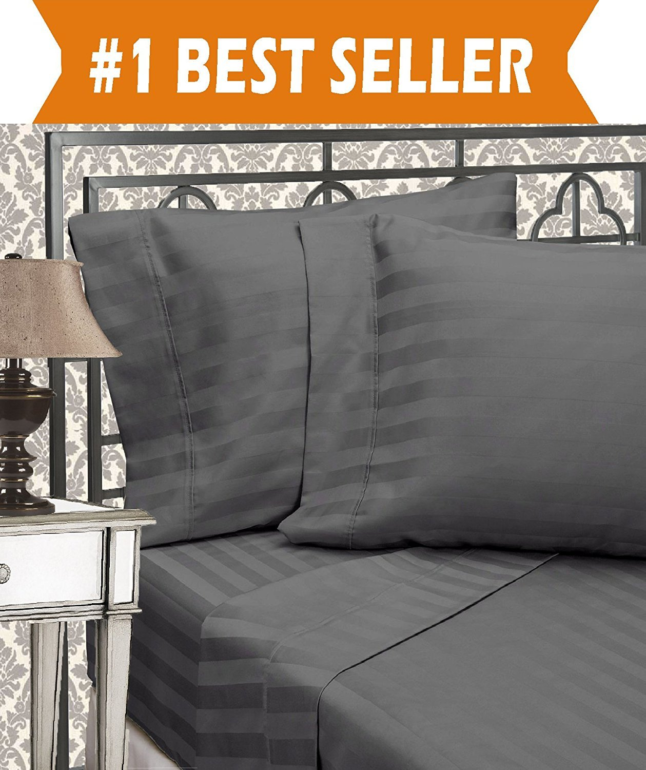 Egyptian Quality Luxurious Wrinkle Resistant 6-Piece DAMASK STRIPE Bed Sheet Set, King Grey