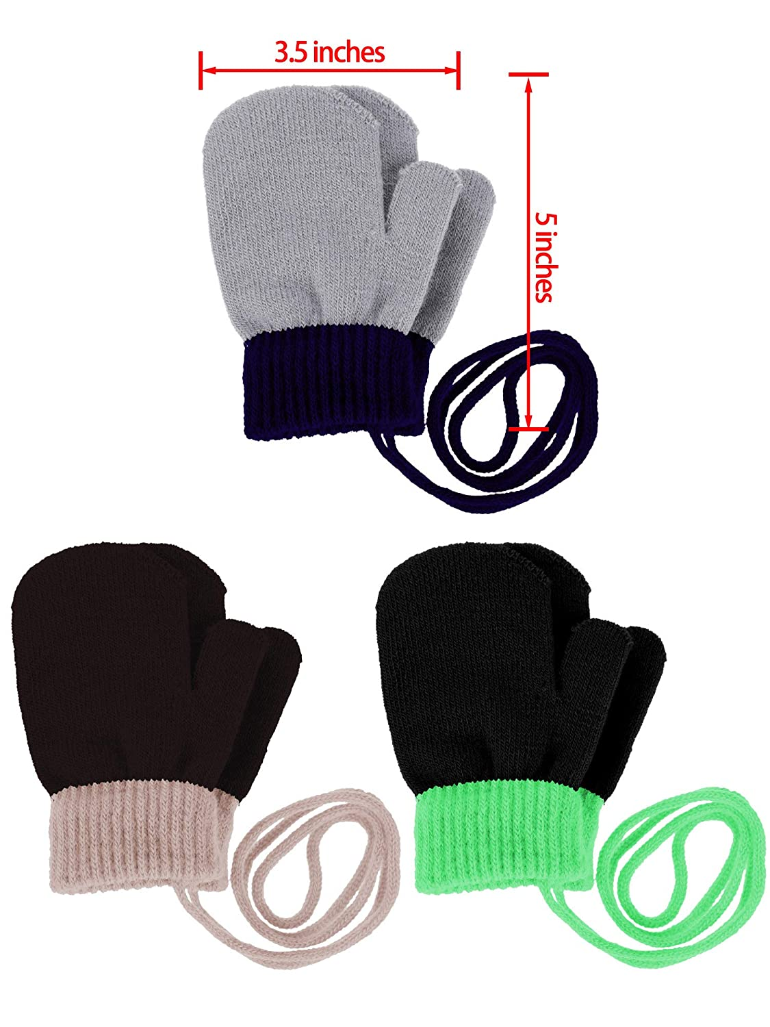 3 Pairs Toddler Magic Stretch Mittens Full Finger Knit Gloves Winter Warm Mittens