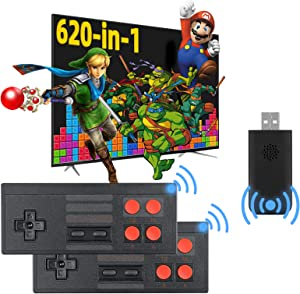 Fordim Retro Game Console,Wireless Controller,AV Output NES Game Console,Built in 620 Classic Games,Mini Portable Host Plug and Play Home Video Game Console for TV,for Kids and Adult