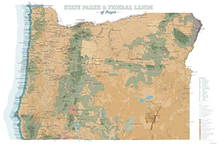 Best Maps Ever Oregon State Parks & Federal Lands Map 24x36 Poster (Camel &  White)
