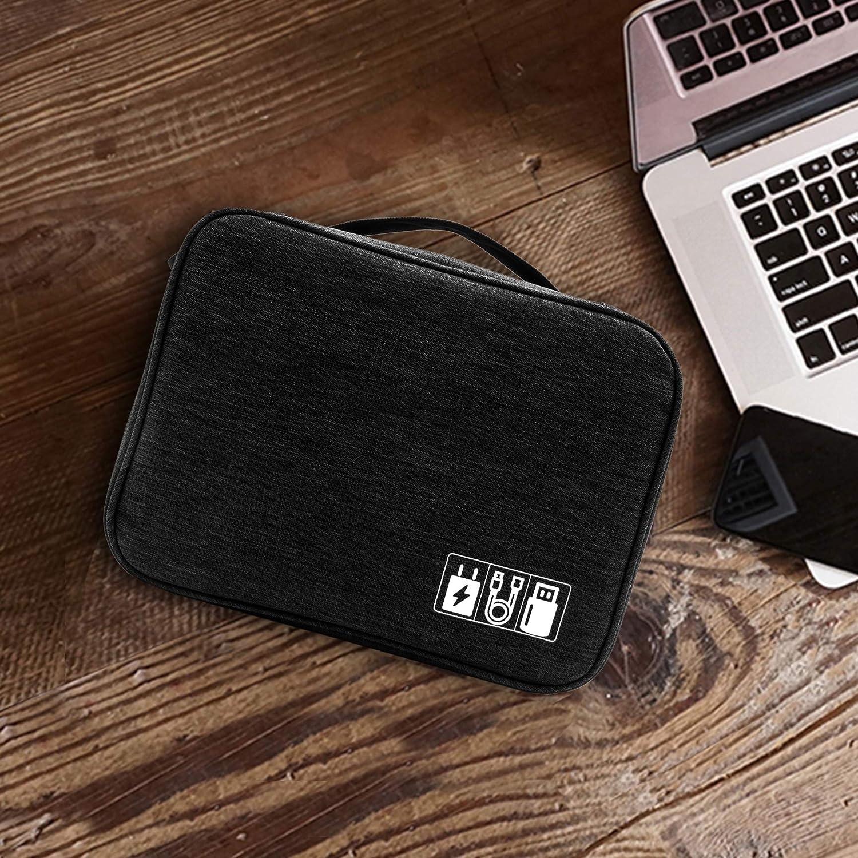 Schwarz SD-Karten Kabel Organizer Tasche Travel Cable Organizer Tragbare Elektronik Organizer Tasche Travel Carry Aufbewahrungskoffer f/ür USB-Kabel Festplatte Powerbank Festplatte
