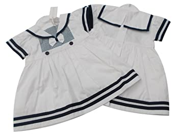 368e028ad BNWT Baby girls white   navy striped summer sailor dress clothes (3 ...