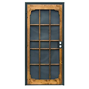 Prime-Line 3809BZ3068-I-WF Woodguard Steel Security Door – Traditional Screen Door Style with the Strength of a Steel Security Door – Steel and Wood Construction, Non-Handed, Bronze