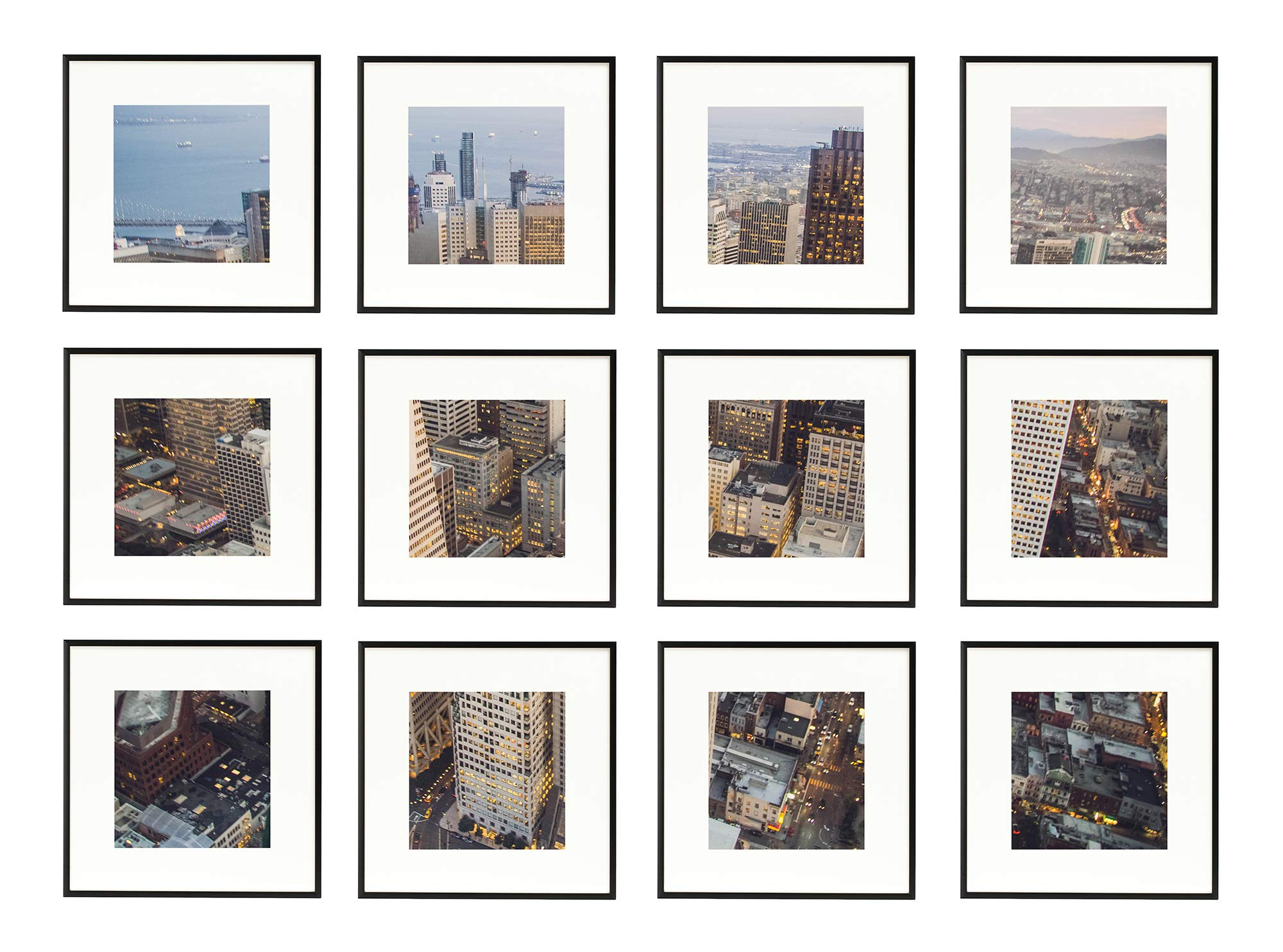 Frametory, Set of 12, 12x12 Black Aluminum Frame - Includes Ivory Mat for 8x8 Picture - Gallery Wall Display - Sawtooth Hanger, Swivel Tabs - Collage Set for Landscapes, Family Photos, Pets by Frametory