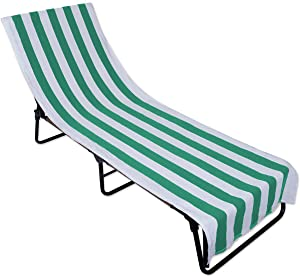 DII Stripe Beach Lounge Chair Towel with Fitted Top Pocket, 26x82, Emerald Green
