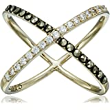 "Judith Jack ""Classics"" Gold-Tone Sterling Silver Ring with Crystals and Marcasite"