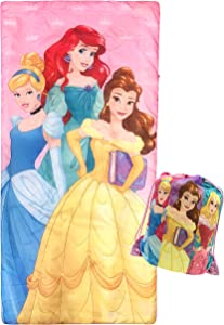 Jay Franco Disney Princess Trip Slumber Sack - Cozy & Warm Kids Lightweight Slumber Bag/Sleeping Bag - Featuring Ariel, Belle, and Cinderella (Official Disney Product)