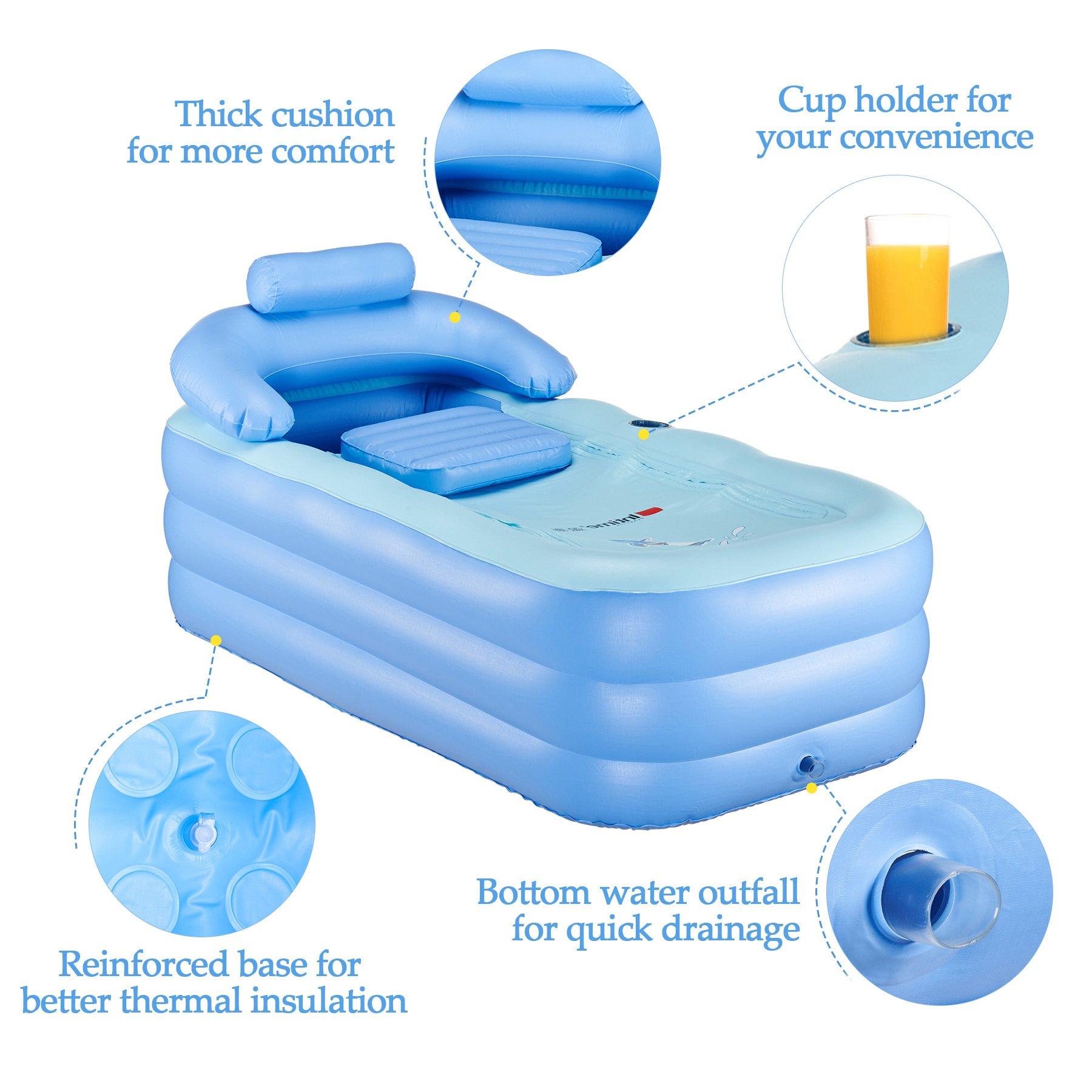 CO-Z PVC Portable Foldable Inflatable Bathtub Free Standing Bath Tub ...