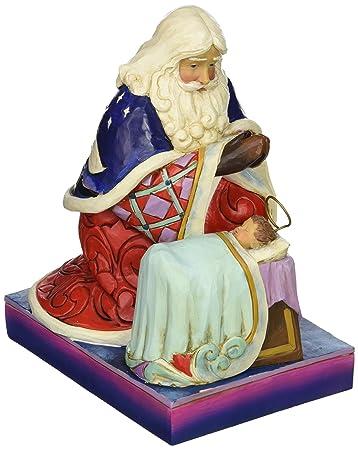 Jim Shore Heartwood Creek Santa with Angel and Baby Jesus Stone Resin Figurine, 6.6