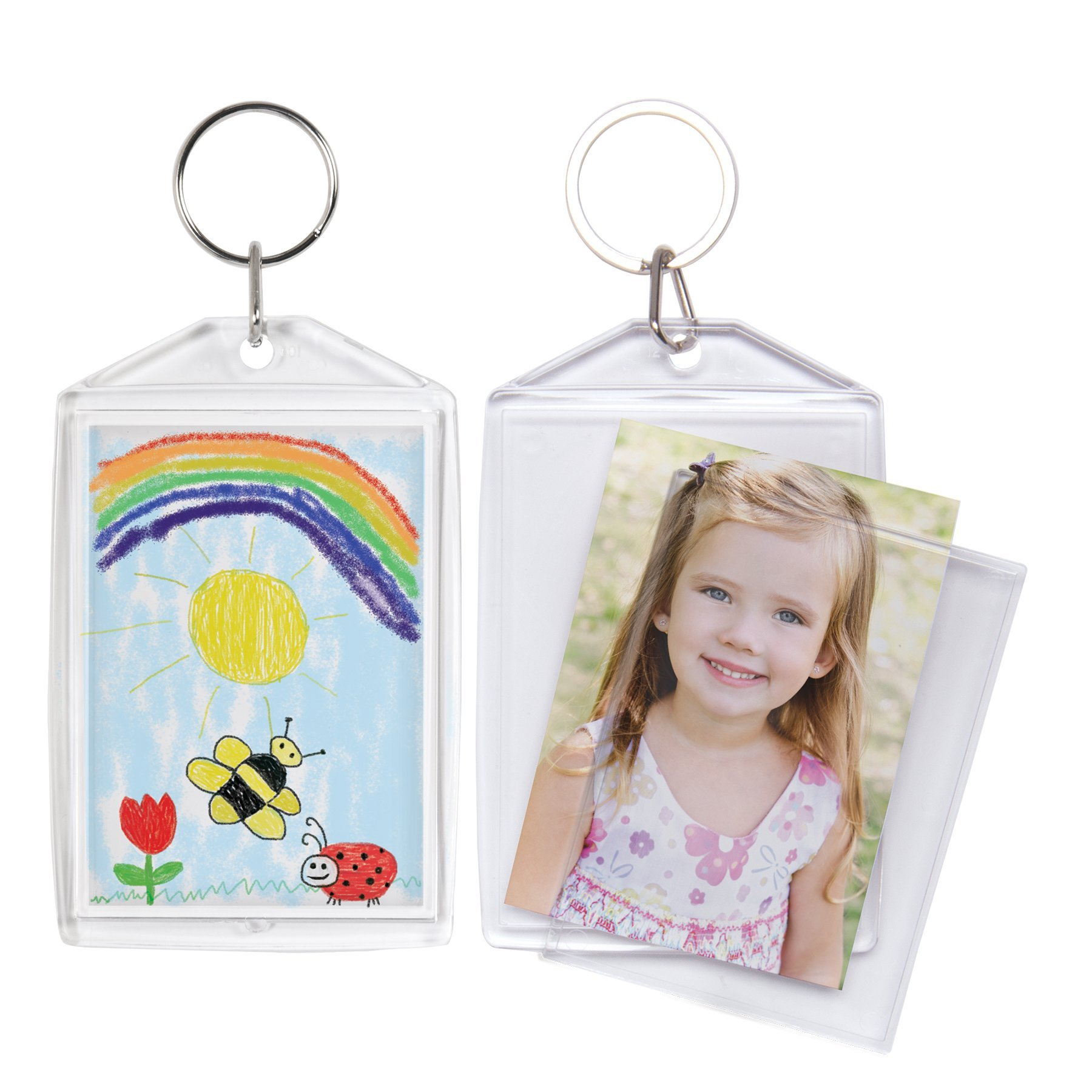 2'' x 3'' Acrylic Snap-In Photo Keychain - 100 Pack