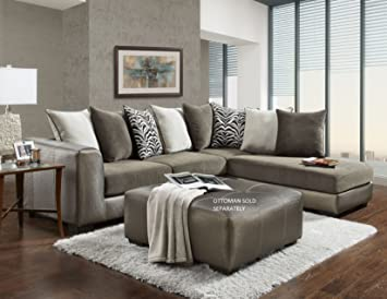 Roundhill Furniture LAF6350SM Shimmer Pewter Magnetite Microfiber Sectional  Sofa, Made In USA, Champagne