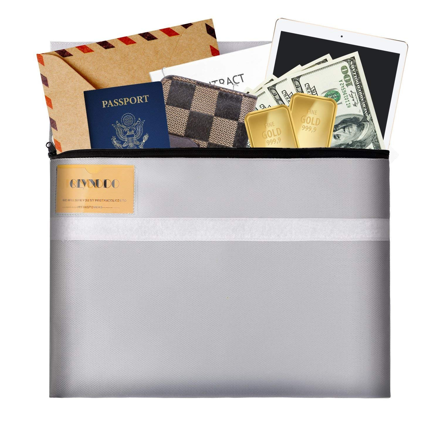 Fireproof Document Bag 15.5''X12.5'', fire Proof Safe Bag No Itchy Silicone Coated fire Resistant Money File Storage bag