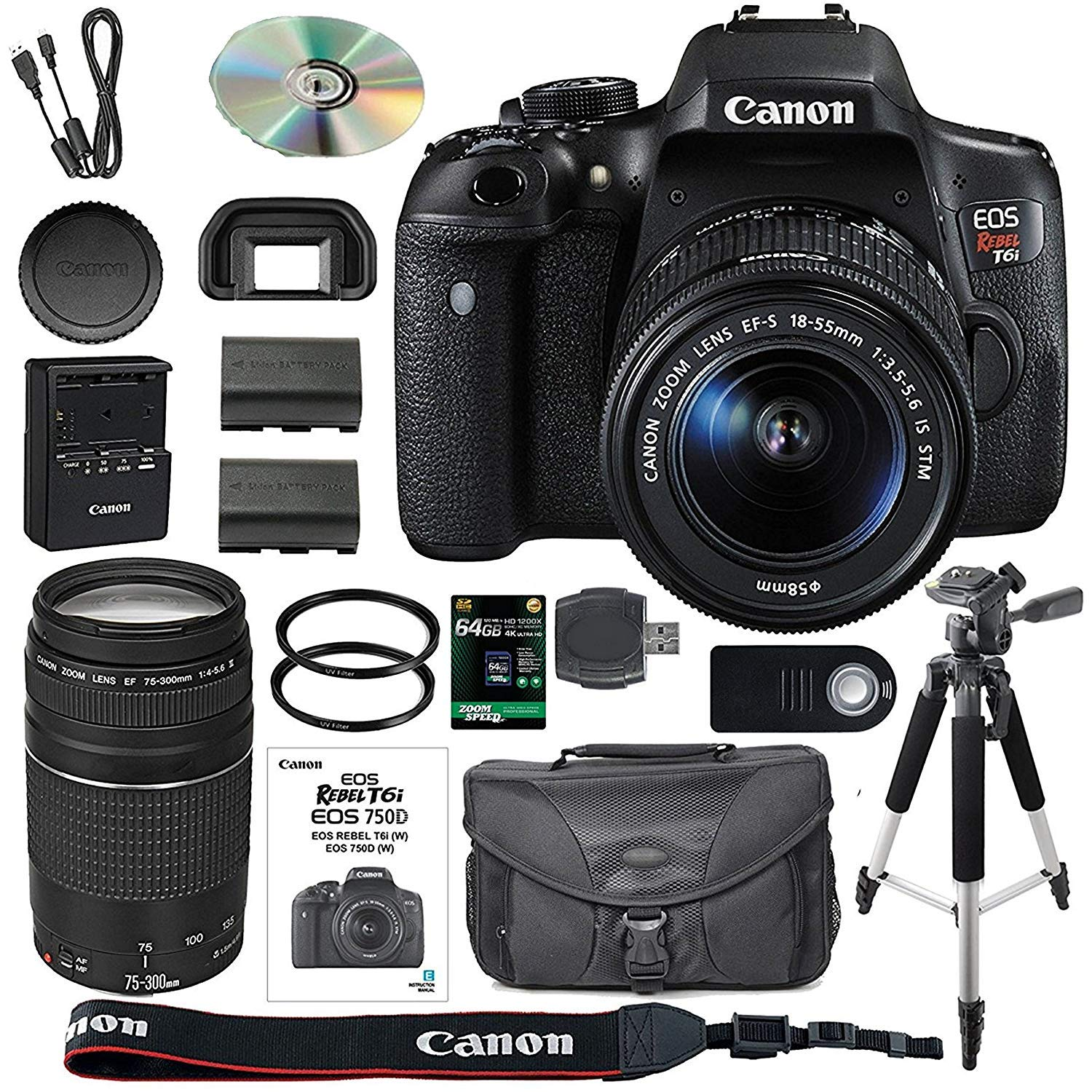 Canon Eos Rebel T6i Dslr Camera Bundle With Ef S 760d Body Only 760 Bo 18 55mm Is Stm Lens 75 300mm Iii 64gb Sdxc Memory Card Accessory Kit