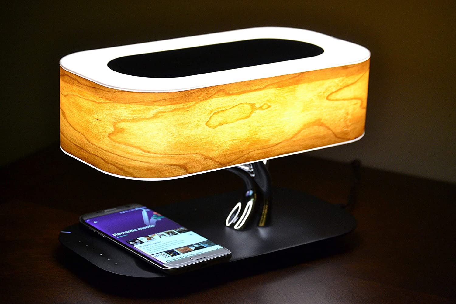 Bedside Lamp with Bluetooth Speaker and Wireless Charger Desk lamp for All Phones with Wireless chargning. by SBOTLIGHT