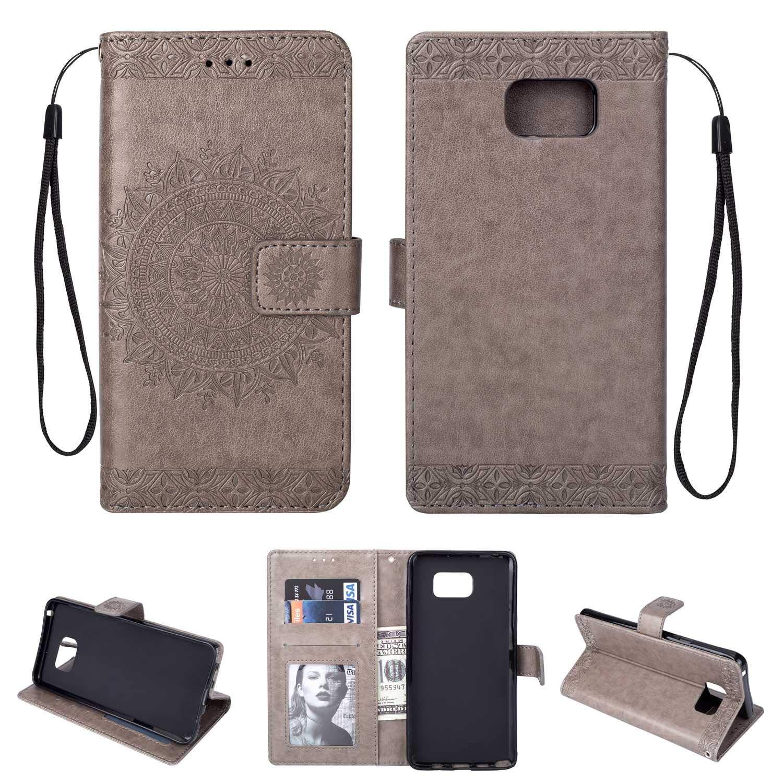 HCUI Compatible avec Galaxy Note 5 Coque Cuir Étui Wallet Housse, Portefeuille de Protection Coque avec Fonction Support Magnétique Pochette Antichoc Coque pour Galaxy Note 5 - Gris.