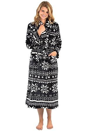 af06459380 VEAMI Women s Aspen Ultra-Soft Plush Warm Fleece Bathrobe-Black  Shimmer-Large