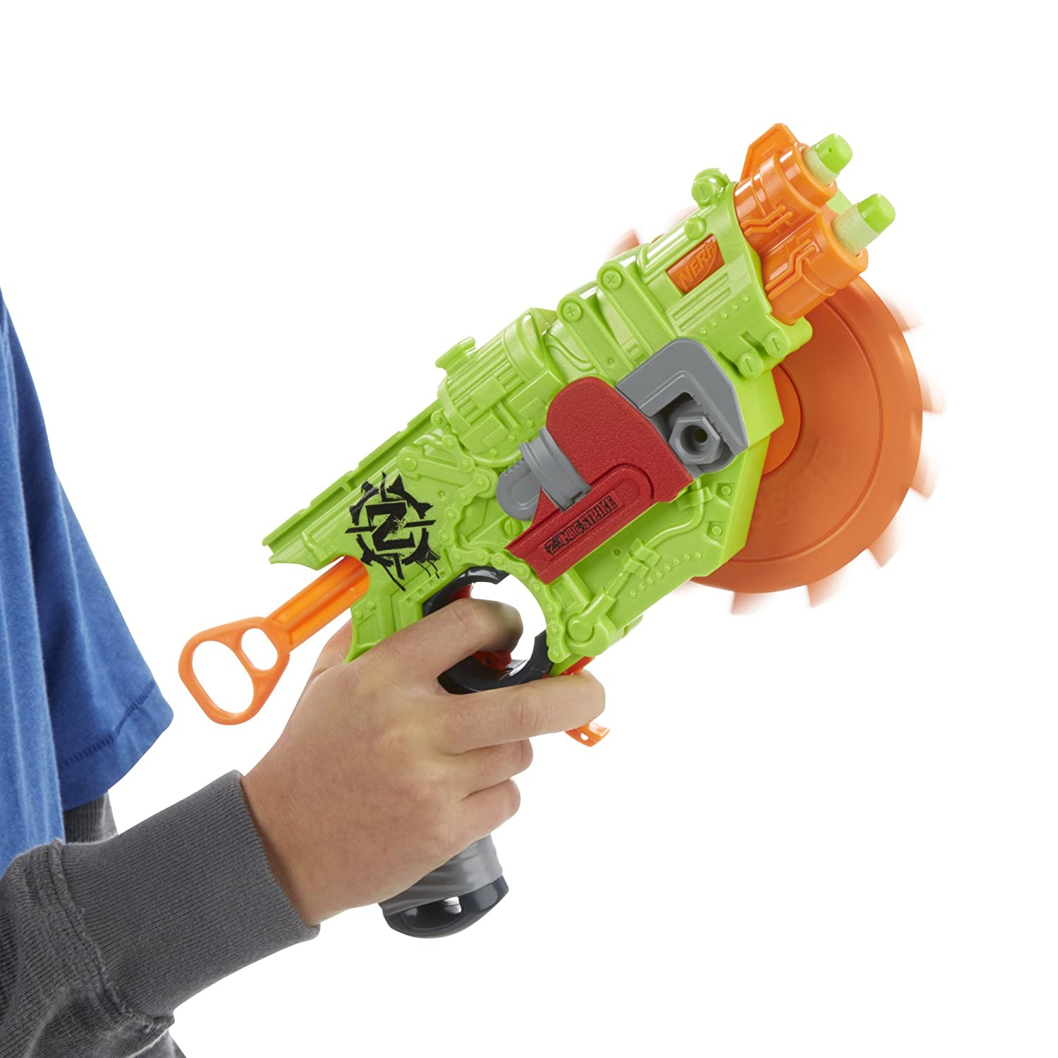 Hasbro launched its Nerf Zombie Strike line a few years ago, offering zombie-themed  Nerf weapons like shotguns, revolvers, crossbows, and chainsaws.