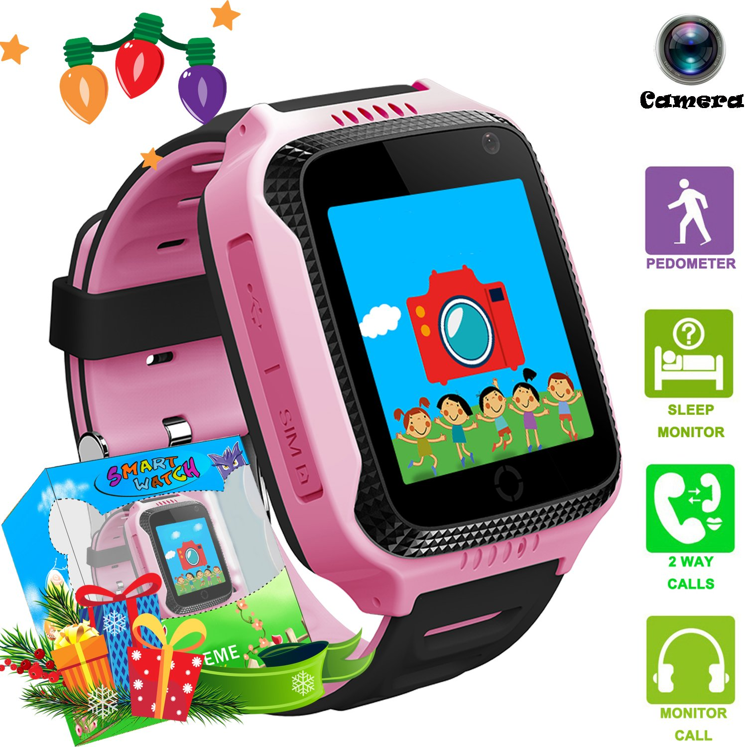 Kids Smartwatches with GPS Flash Night Light Touch Screen Anti-lost Alarm Smart Watch Bracelet for Children Girls Boys Compatible for iPhone Android (001 G3S Pink GPS+LBS)