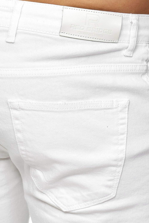 Red Bridge Pantalones Blancos Desgastados Vaqueros Ajustados para Hombre