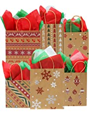 Elcoho 24 Pieces Christmas Kraft Bags 3 Size Paper Bags Holiday Party Bag with 30 Sheets Christmas Tissue Paper for Christmas Decorations,6 Designs