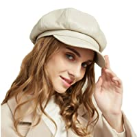 8 Panels Newsboy Caps for Women, PU Leather Cabbie Hat Gatsby Ivy Beret with Visor