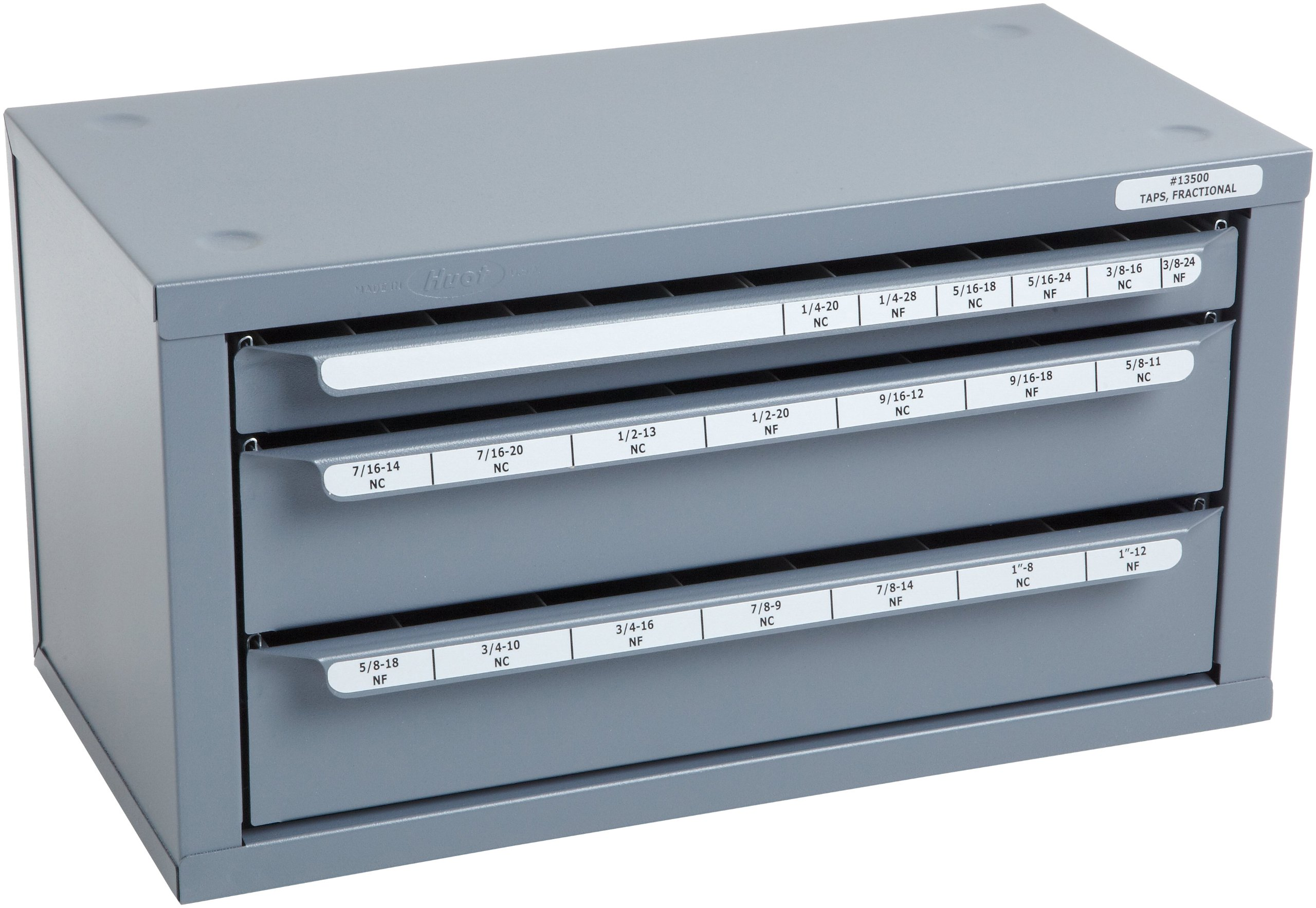 Huot 13500 Three-Drawer Fractional Tap Dispenser Cabinet for Fractional Sizes 1/4''-20 to 1''-12