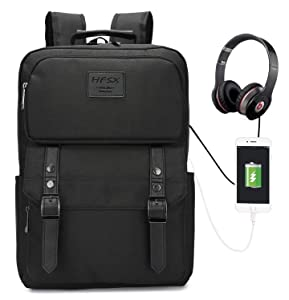 Vintage Laptop Backpack for Women Men Stylish Backpack College School Backpack with USB Charging Port Business Travel Durable Backpack Fit 15.6 inch Laptop Black