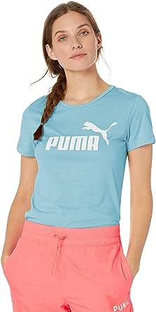 PUMA Womens Essentials + Logo Heather Tee Short Sleeve T-Shirt