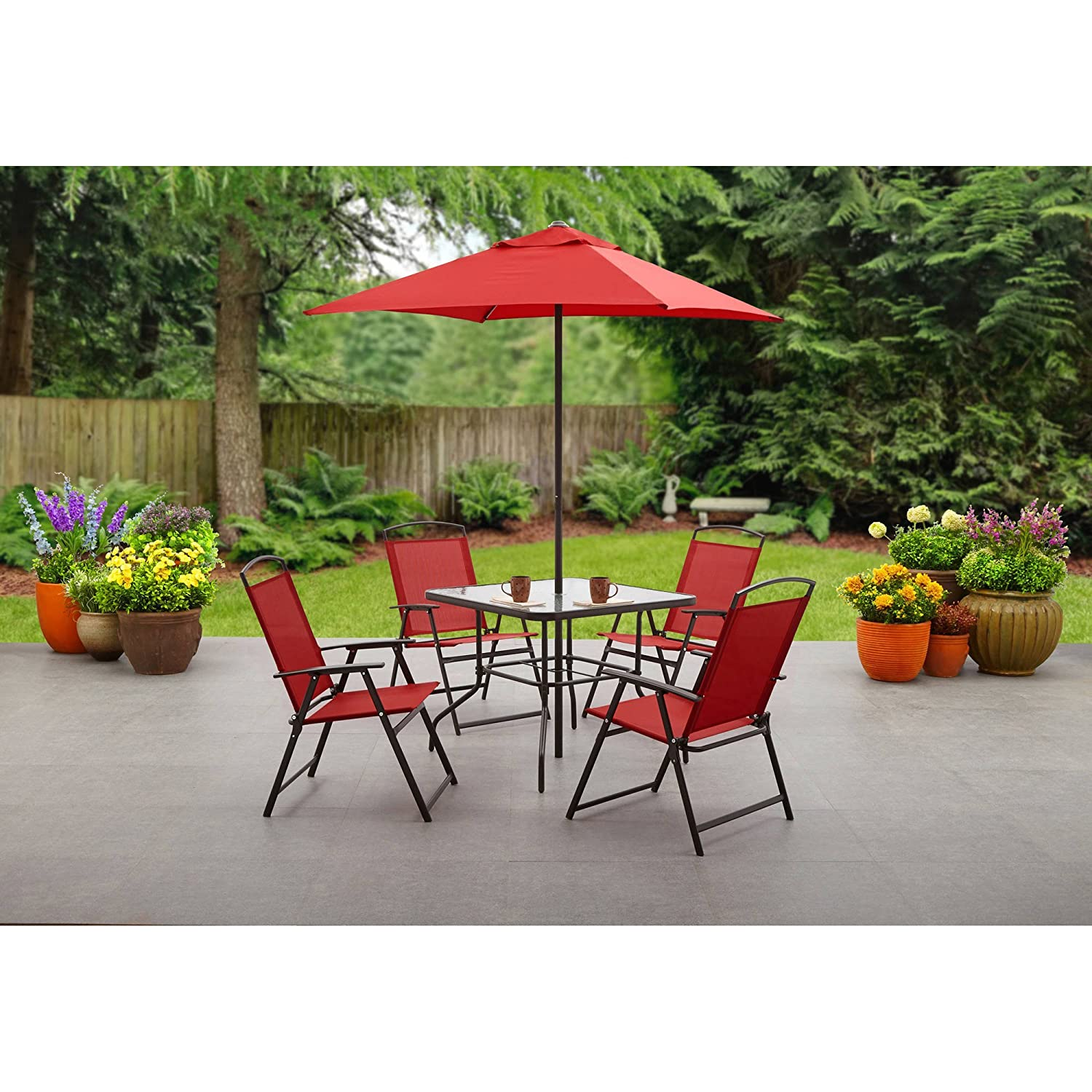 Mainstays Albany Lane 6-Piece Folding Dining Set Includes Dining table, Folding chairs and Umbrella , Red