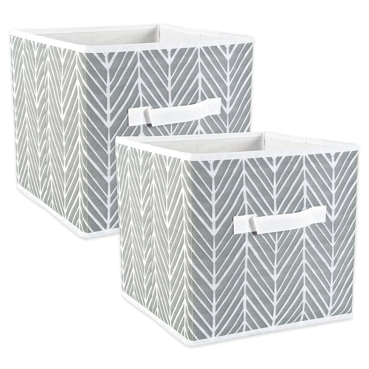 DII Fabric Storage Bins for Nursery, Offices, Home Organization, Containers Are Made To Fit Standard Cube Organizers (13x13x13) Herringbone Grey - Set of 2