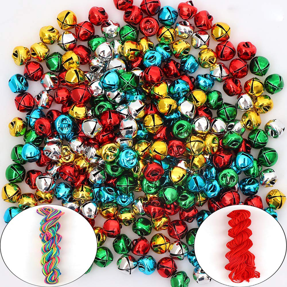 300Pack Jingle Bell/Small Bell/Mini Bell with Cord for DIY Making, Christmas & Party & Festival Decorations QING
